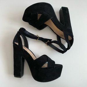 Justfab Black Suede Platform Heel